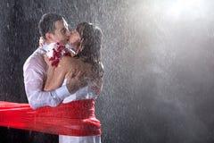 Szczęśliwi ślubni kochankowie na silnym deszczu zdjęcia stock