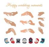 Szczęśliwi Ślubni momenty Dzwonią na palcach Inkasowych ilustracji