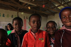 Szczęśliwi afrykańscy dzieci, chłopiec i dziewczyny, Swaziland, Afryka Fotografia Royalty Free
