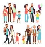 Szczęśliwi aktywni rodzinni kreskówka wektoru charakterów ludzie ilustracji