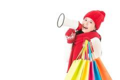 Szczęśliwi azjatykci kobiety mienia prezenty i megafon Zdjęcie Stock