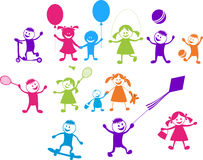 Szczęśliwi bawić się dzieci ilustracja wektor