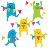 Szczęśliwi Birhday koty Ustawiający ilustracji