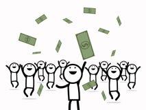 Szczęśliwi biznesowi mężczyzna dostaje mnóstwo pieniądze Obraz Royalty Free