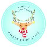 Szczęśliwi boże narodzenia jeleni Wesoło boże narodzenia i Szczęśliwy nowy rok również zwrócić corel ilustracji wektora zdjęcie stock