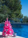 szczęśliwi Boże Narodzenie wakacje Różowa choinka basenem wesołych świąteczną kartkę fotografia royalty free