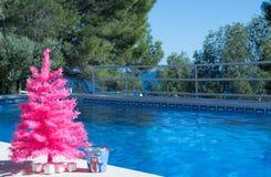 szczęśliwi Boże Narodzenie wakacje Różowa choinka basenem wesołych świąteczną kartkę zdjęcia royalty free