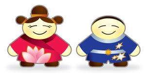Szczęśliwi chińscy dzieci ilustracji