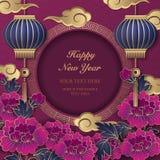 Szczęśliwi 2019 Chińskiego nowego roku peoni retro złocistych purpurowych reliefowych flowe ilustracji