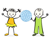 Szczęśliwi children z kulą ziemską. Obrazy Stock