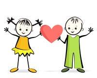 Szczęśliwi children z sercem. Zdjęcie Royalty Free