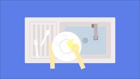 Szczęśliwi domycie talerze na zlew Fotografia Stock