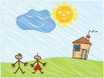 szczęśliwi doodle dzieciaki Zdjęcie Royalty Free