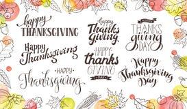 Szczęśliwi dziękczynień sformułowania ilustracja wektor