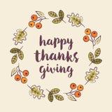 Szczęśliwi dziękczynienia kartka z pozdrowieniami szablonu jesieni wianku liście ilustracja wektor
