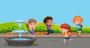 Szczęśliwi dzieci bawić się obok fontanny ilustracja wektor