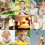 Szczęśliwi dzieci bawić się outdoors przy dnia czasem zdjęcie royalty free