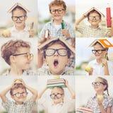 Szczęśliwi dzieci bawić się outdoors przy dnia czasem obraz stock