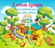 Szczęśliwi dzieci bawić się zabawę i ma przy boiskiem po środku parka ilustracji