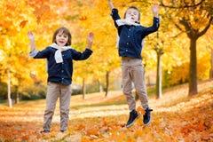 Szczęśliwi dzieci, chłopiec bracia, bawić się w parku, rzuca leav obraz royalty free