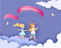 Szczęśliwi dzieci chłopiec i dziewczyna biegają z powrotem szkoła Obrazy Royalty Free