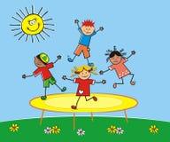 Szczęśliwi dzieci skacze na trampoline Wektorowa śliczna ilustracja ilustracja wektor