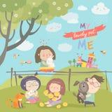 Szczęśliwi dzieci z zwierzętami domowymi Obraz Royalty Free