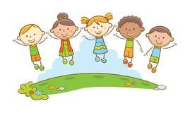 Szczęśliwi dzieciaków skoki! ilustracja wektor