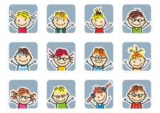 Szczęśliwi dzieciaki, dziewczyny i chłopiec, rama, wektorowa ikona royalty ilustracja
