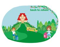 Szczęśliwi dzieciaki iść szkoła Obraz Royalty Free