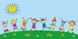 Szczęśliwi dzieciaki na łące, grupa dzieci, wektorowa ilustracja ilustracja wektor