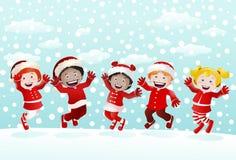 Szczęśliwi dzieciaki na zimie Zdjęcie Royalty Free