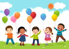 Szczęśliwi dzieciaki skacze wpólnie i trzyma balony royalty ilustracja