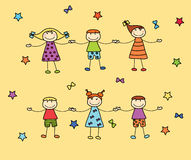 Szczęśliwi dzieciaki trzyma ręki each inny Obraz Royalty Free