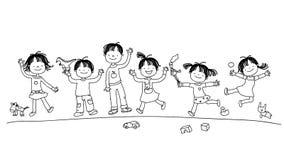 Szczęśliwi dzieciaki ustawiający ilustracja wektor