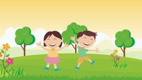 Szczęśliwi dzieciaki z pięknym krajobrazem ilustracja wektor