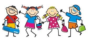 Szczęśliwi dziecko w wieku szkolnym, dzieci z torbami, śmieszna wektorowa ilustracja royalty ilustracja