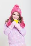 Szczęśliwi dziecko zimy akcesoria Fotografia Stock