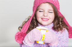 Szczęśliwi dziecko zimy akcesoria Obraz Royalty Free