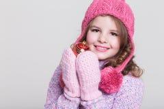 Szczęśliwi dziecko zimy akcesoria Zdjęcia Royalty Free