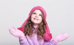 Szczęśliwi dziecko zimy akcesoria Obrazy Royalty Free