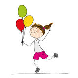 Szczęśliwi dziewczyny mienia i bieg kolorowi balony w ona ręka - Fotografia Stock