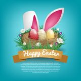 Szczęśliwi Easter dnia kartka z pozdrowieniami z ptaka gniazdeczkiem i królika ucho Obraz Stock