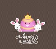 Szczęśliwi Easter jajka, królik i ilustracja wektor