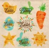 Szczęśliwi Easter symbole Kraft ilustracji