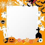 Szczęśliwi Halloween charaktery w kreskówce projektują z banią, Dracula, koścem, mamusią, żywym trupem, czarnym kotem, nietoperze Zdjęcie Stock
