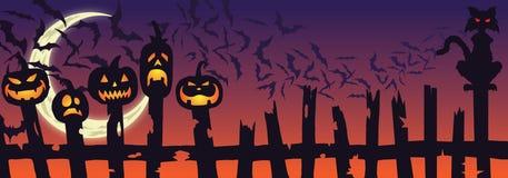 Szczęśliwi HALLOWEEN ogrodzenia bani nietoperze i kot ilustracji