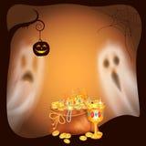 Szczęśliwi Halloweenowi Straszni duchy i Złocisty wektor royalty ilustracja