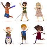Szczęśliwi i aktywni dzieci z kalectwami Ilustracja Wektor