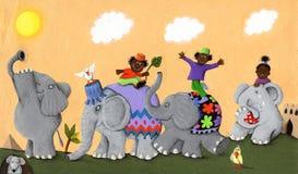 Szczęśliwi i smutni Afrykańscy słonie i dzieci Obraz Stock